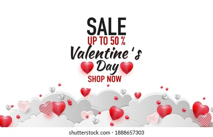 Valentines day sale background with balloons heart pattern. Vector illustration.