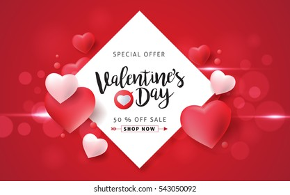 Valentines day sale background with balloons heart. Vector illustration. Wallpaper, flyers, invitation, posters, brochure, banners.