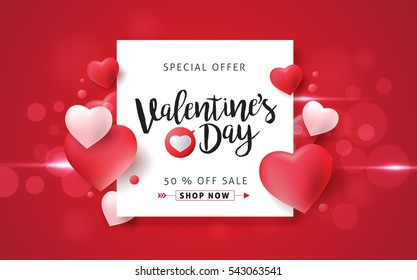 Valentines day sale background with balloons heart pattern. Vector illustration. Wallpaper, flyers, invitation, posters, brochure, banners.