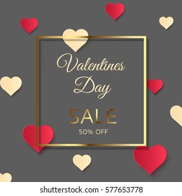 Valentines day sale background, gray discount poster with hearts ornament and golden frame. February 14. Vector illustration, eps10.