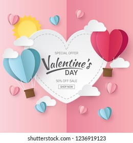 Valentines day sale background with Heart  Balloons, clouds and sun.  Paper cut style. Vector illustration.