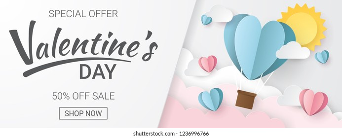 Valentines day sale background with Heart Balloons, clouds and sun. Paper cut style. Can be used for Wallpaper, flyers, invitation, posters, brochure, banners. Vector illustration.