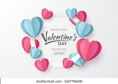 Valentines day sale background with Heart shape. Paper cut style. Can be used for Wallpaper, flyers, invitation, posters, brochure, banners. Vector illustration.