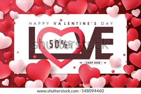Valentines Day Sale Background Heart Shaped Stock Vector Royalty