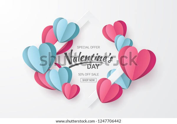 Valentines Day Sale Background Heart Shape Stock Vector