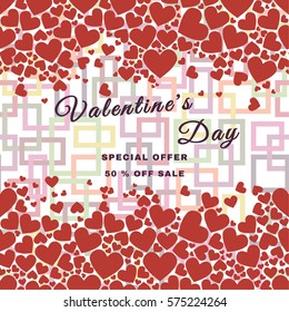 Valentines day sale background with hearts pattern. Vector illustration. Wallpaper, flyers, invitation, posters, brochure, banners.