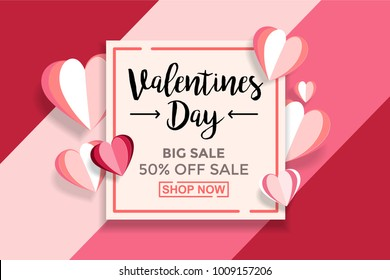 Valentines day sale background With Paper cut Love. Wallpaper, flyers, invitation, posters, brochure, voucher,banners. Vector Illustrator Eps. 10