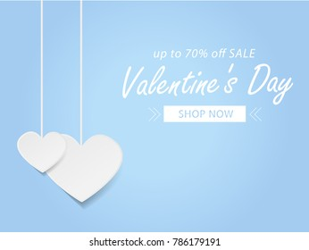 Valentines day sale background with paper heart Vector illustration. Wallpaper, flyers, invitation, posters, brochure, banners