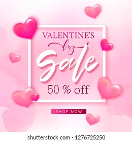 Valentine's day sale background with pink hearts. Romantic design for flyer, card, invitation, poster, banner. Discount, shop promotion template.
