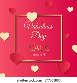 Valentines day sale background, pink discount poster with hearts ornament. February 14. Vector illustration, eps10.