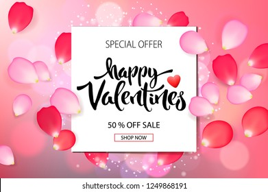 Valentines day sale background with  roses petals, vector illustration. Banners, wallpaper, flyers, invitation, posters, brochure, voucher discount.