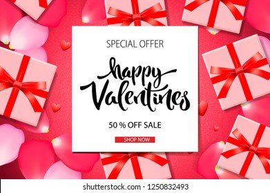 Valentine's Day sale background. Top view on composition with gift box and rose petals, vector illustration