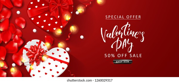 Valentine's Day sale background. Top view on composition with gift boxes, rose petals, serpentine,white beads and glowing garland. Vector illustration for posters, ads, coupons, promotional material.