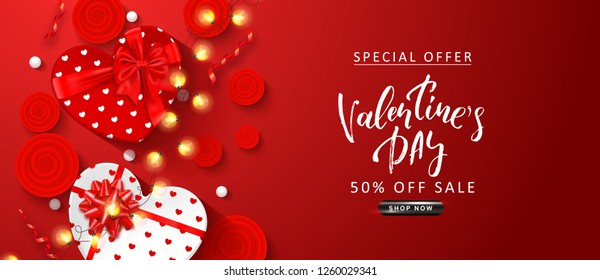 Valentine's Day sale background. Top view on composition with gift boxes, roses,serpentine, white beads and glowing garland. Vector illustration for posters, ads, coupons, promotional material