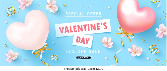 Valentine's Day sale background.Beautiful blue Background with flowers,serpentine and balloons. Vector illustration for postcards,posters, coupons, promotional material