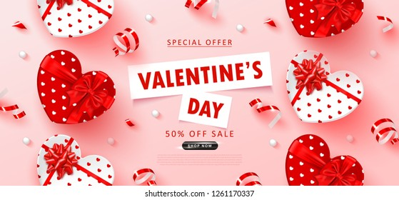 Valentine's Day sale background.Romantic composition with gift boxes, beads and serpentine. Vector illustration for website , posters,ads, coupons, promotional material.
