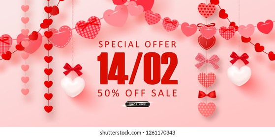 Valentine's Day sale background.Romantic composition with garlands from paper and bows. Beautiful backdrop with hearts on threads. Vector illustration for posters,ads, coupons, promotional material.