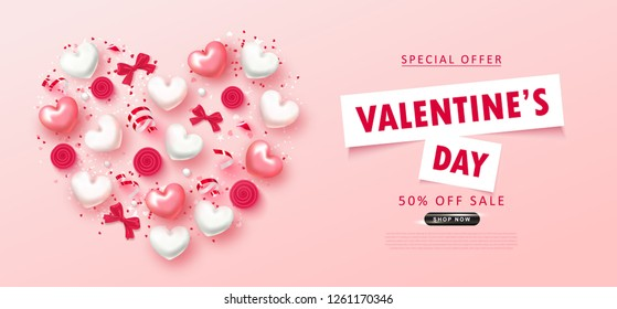 Valentine's Day sale background.Romantic composition with hearts, bows, roses,beads and serpentine. Vector illustration for website , posters,ads, coupons, promotional material.