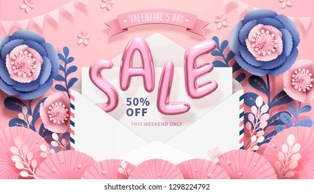 Valentine's Day with sale balloon words jumping out of envelope in 3d illustration, paper flower decorations