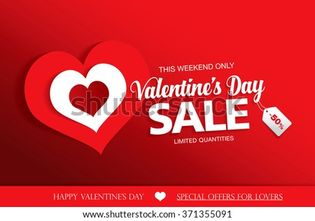 Valentines Day Sale Banner Stock Vector Royalty Free 371355091