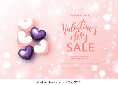 Valentine's day sale banner. Beautiful Background with Realistic Hearts. Vector illustration for website , posters, email and newsletter designs, ads, coupons, promotional material.
