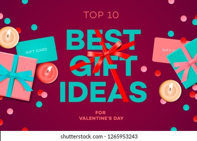 Valentines day sale banner, best gift ideas, gift box, candles, gift certificate, confetti, vector illustration.