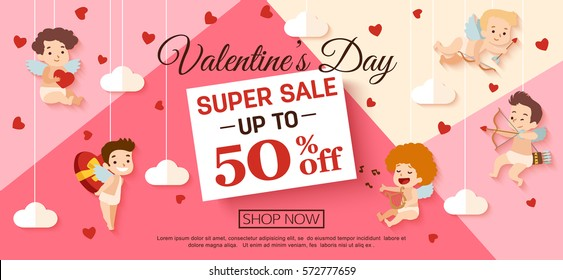 Valentines day sale banner with cupid for campaign, online shop. Vector illustration.
