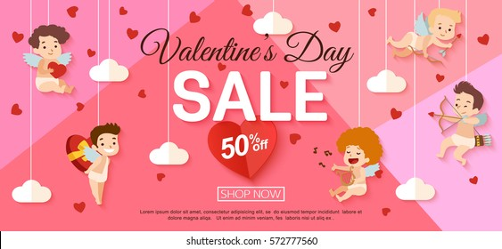 Valentines day sale banner with hanging cupid. Vector illustration.
