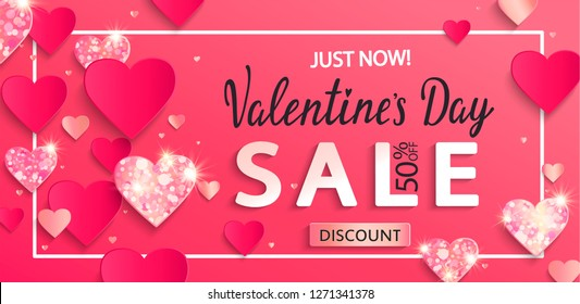 Valentines day sale banner with paper shiny glitter hearts,poster template.Pink abstract background with shimer hearts ornaments, origami style.Discount flyer,card for february 14.Vector illustration.