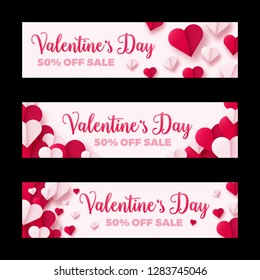 Valentines day sale banner, paper origami hearts divided into half. Vector illustration. Invitations or greeting cards template.