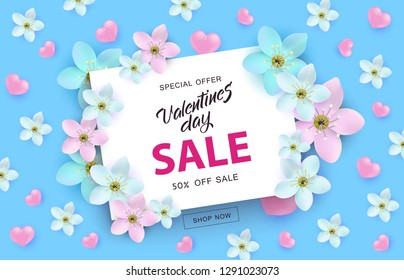 Valentines Day sale banner with sign on white rectangular card surrounded by pink and blue realistic hearts and flowers - vector illustration for 14 February special offer promotion.