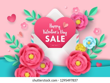 Valentine's day sale banner template for social media advertising, invitation or poster design with paper art flowers and envelope background. Vector illustration