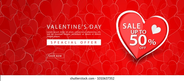 Valentine's day sale banner vector template, Valentines Heart sale tags, web banner design, Discount card,  promotion, flyer layout, ad, advertisement, printing media