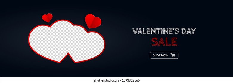 Valentine's day sale banner for web online shopping. Vector trendy concept
