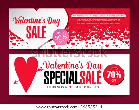 Valentines Day Sale Banners Stock Vector Royalty Free 368565311
