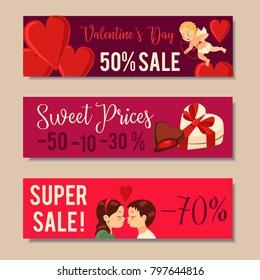 Valentine's Day Sale Banners, Sale headers Design. Vector illustration
