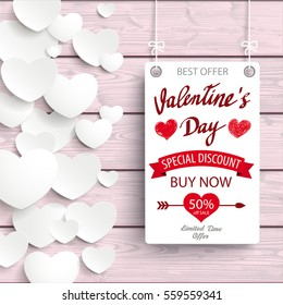 Valentines Day sale, board with hearts on the wooden background. Eps 10 vector file.