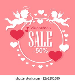 Valentine's Day Sale. Cute Design Template with Hearts