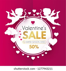 Valentine's Day Sale. Cute Design Template with Hearts, Cloud and Cupid Holding Bow and Arrow. Vector illustration