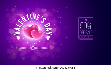 Valentines day sale design. A couple of balloon hearts on red bokeh background. Vector illustration. Ideal for website banners, flyers, invitation, posters, brochures.