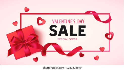 Valentine's day sale design template. Pink banner with gift box, red bow and decorative heart confetti. Vector illustration