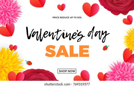 Valentines Day sale design template of red paper hearts and pink roses or red flowers bunch on white background. Vector Valentine fashion shopping season sale discount offer background for banner