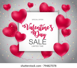 Valentines Day Sale, Discount Card. Vector Illustration. EPS10