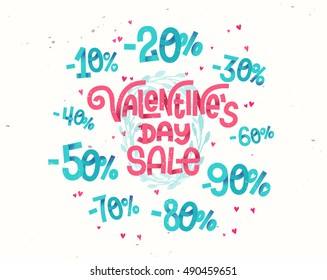 Valentine's day sale, discount percentages in cute girly cartoon style numbers for sales promotions and discounts