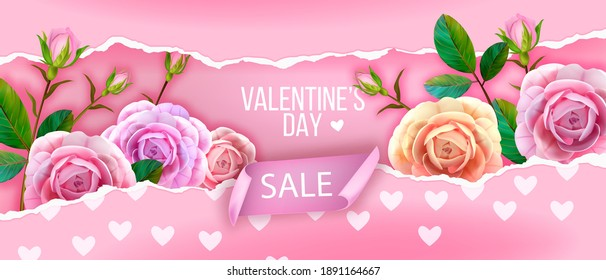 Valentines Day sale floral vector pink love background with hearts, rose buds, green leaves, flowers. Romantic holiday greeting gift, discount, offer concept. Valentines Day spring sale promo flyer