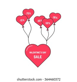 valentine's day sale with flying heart on balloon. concept of amour, web flyer, special offer, online header, promo sell. isolated on white background. flat style trend logo design vector illustration