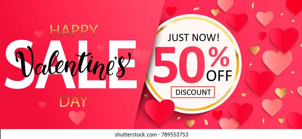 Valentines day sale gift card with lettering and half price discount in circle gold frame, poster template. Pink abstract background with hearts ornaments. February 14.Vector illustration.