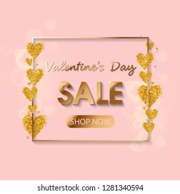Valentines Day Sale gold text in frame on advertising poster announcement with golden heart balloons on pink background. Vector illustration