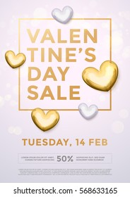 Valentines Day Sale gold text in frame on  advertising poster announcement with golden heart balloons on white background. Vector illustration