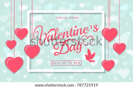 Valentines day sale greeting card banner stock vector royalty free valentines day sale greeting card banner beautiful invitation with pink heart frame on blue background and m4hsunfo